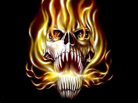 wallpaper keren monster scary skulls images etc hand and ink true fire skull