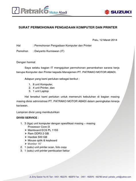 format proposal pengadaan barang surat permohonan pengadaan komputer dan printer docx
