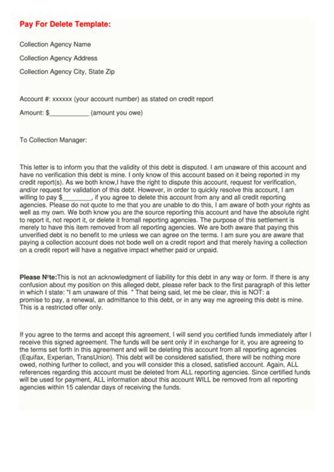 3 Debt Dispute Letter Templates Free To Download In Pdf Pay For Delete Letter Template