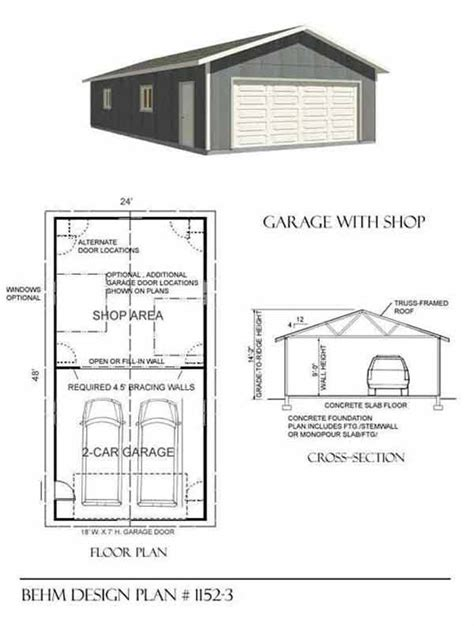 garage workshop plans two car garage with shop plan 1152 3 24 x 48 by behm