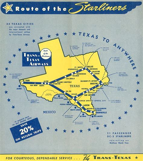 douglas texas map trans texas airways tta world airline news
