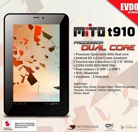 Layar Tablet Mito tablet mito t910 android ics ada tv analog