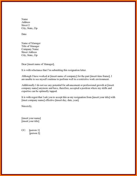 resignation letters format professional resignation letter sle with notice period