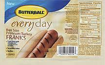 butterball turkey franks everyday bun size premium 16 oz 8 0 ct nutrition information shopwell