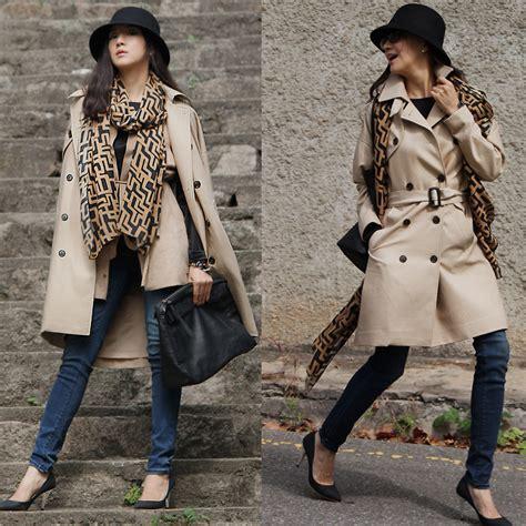 Becky Korean Bag becky baek black hat trench coat brown scarf suede
