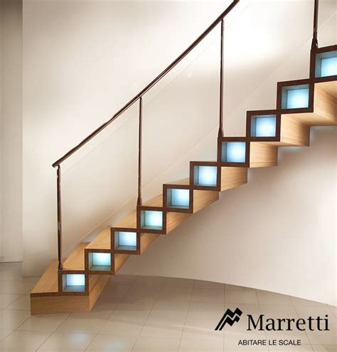 Hanging Stairs Design Marretti Srl Wood Closed Structure Hanging Staircases