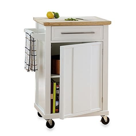 Real Simple 174 Rolling Kitchen Cart In White Bed Bath Beyond Rolling Cart For Kitchen