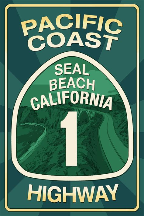 Wooden Sign Poster 1 highway 1 california seal pacific coast highway sign lantern press poster 7 quot x 10