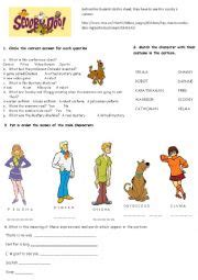 printable scooby doo activity sheets english worksheets scooby doo comprehesion and listening