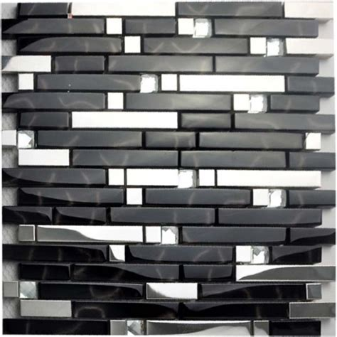 cheap stainless steel backsplash black and silver metal glass mosaic sheets tile cheap stainless steel backsplash
