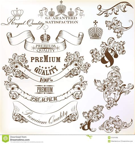 collection  calligraphic decorative vector elements