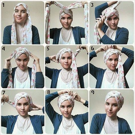 tutorial turban pashmina very simple turban style hijab tutorial jpg 850 215 850