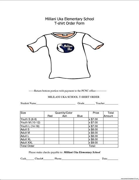 school t shirt order form template sle templates