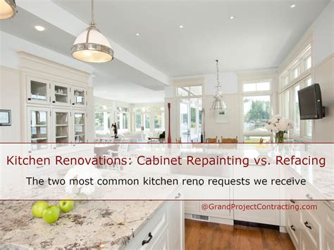 cabinet refacing vs painting kitchen renovations cabinet repainting vs refacing
