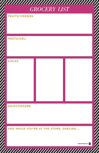 free cute printable grocery list pin by laura railing on cool ideas pinterest
