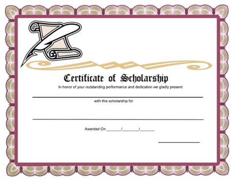 award certificate templates word 5 plus scholarship award certificate exles for word and pdf