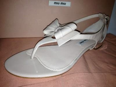 Bow Flat Sandal Original Ori Authentic miu miu prada patent leather metal heel bow