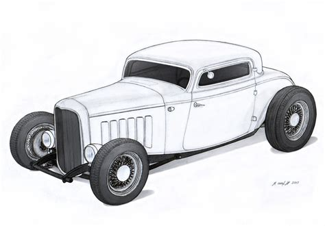 1932 Ford Three Window Coupe Hot Rod Drawing By Rat Rod Coloring In