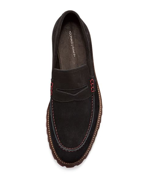 donald pliner loafers lyst donald j pliner elton washed suede loafer in black