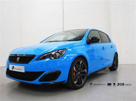 peugeot 308 gti blue peugeot 308 gti avery light blue personal vehicle wrap