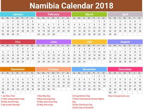 annual namibia calendar 2018 printcalendar xyz