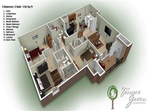 apartments with 3 bedrooms and 2 bathrooms 3 story apartment building plans house floor plans 3