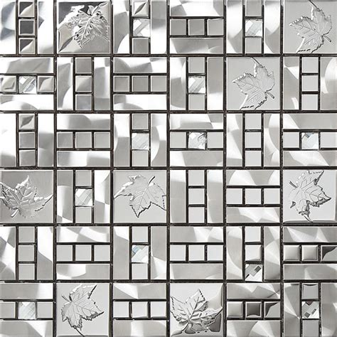 metal mosaics tile for bathroom backsplash home interiors maple leaf pattern shinning stainless steel metal