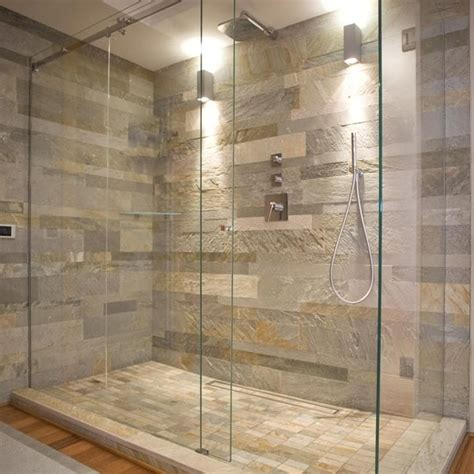 stone floor bathroom natural stone wall and glass shower enclosure general