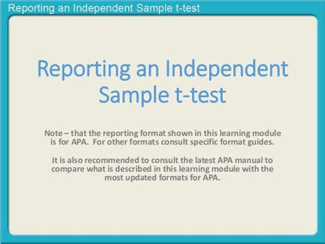 reporting one sle t test reporting an independent sle t test