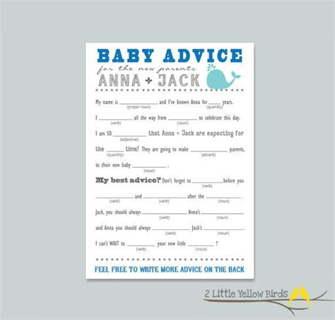 Baby Boy Shower Mad Libs Free by Baby Shower Advice Card Mad Libs Sea Animals