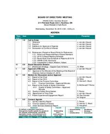 Board Meeting Agenda Template by Board Of Directors Meeting Agenda Template 8 Free Word