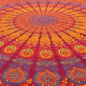 Queen burgundy elephant indian mandala tapestry bedspread beach boho