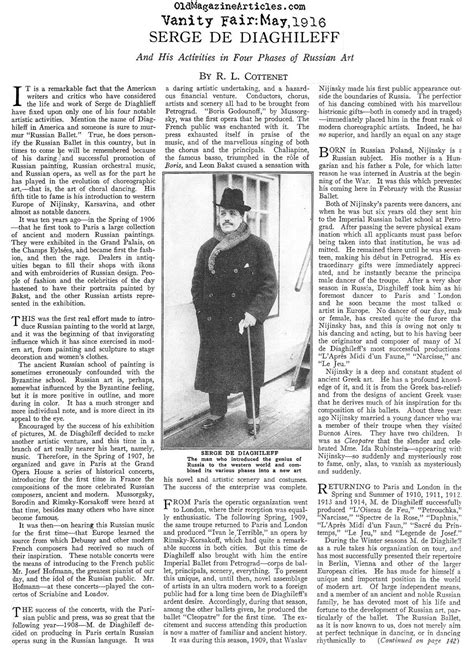 Vanity Fair Articles by Sergei Diaghilev Sergei Diaghilev Image Russian Ballet