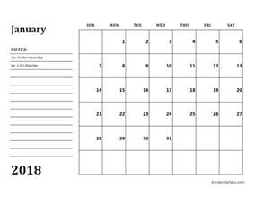 calendar template with notes 2018 calendar template with monthly notes free printable