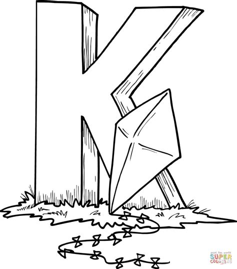 letter k is for kite coloring page free printable
