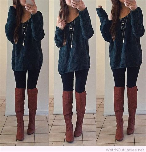 sweater and brown boots out