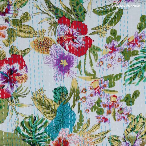 Floral Print Blanket size white multicolor floral print kantha quilt