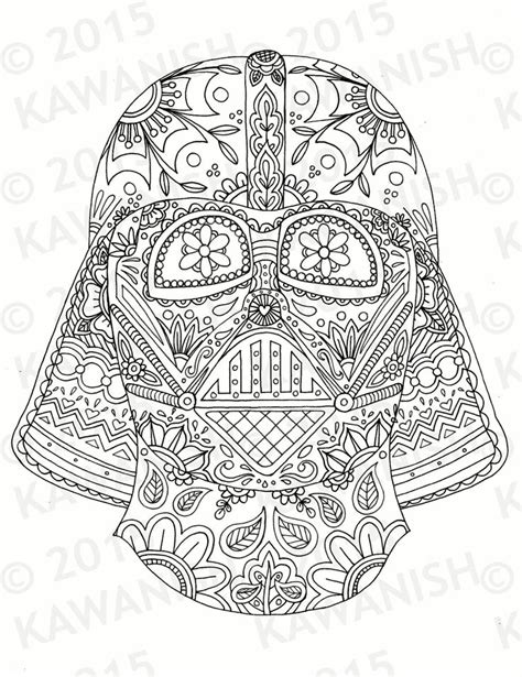 coloring pages for adults star day of the dead darth vader mask adult coloring page gift