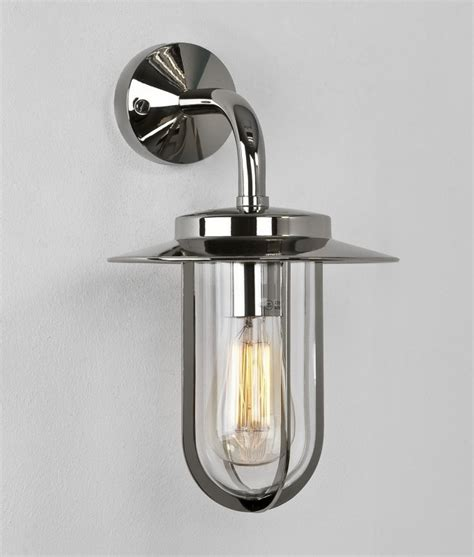 exterior deck wall lantern in contemporary chrome or