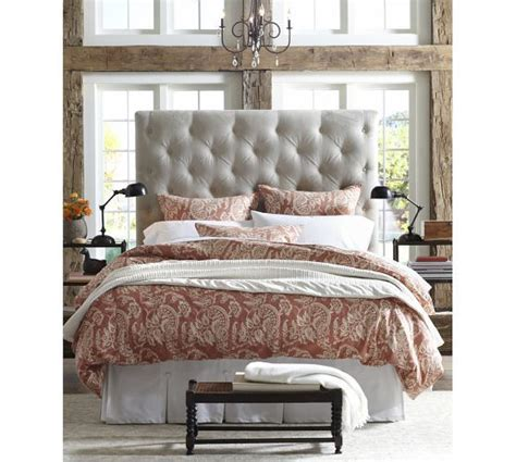 lorraine tufted headboard lorraine tufted bed headboard pottery barn makos