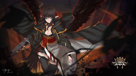 wallpaper anime demon wallpaper demon girl wings dark theme elf ears