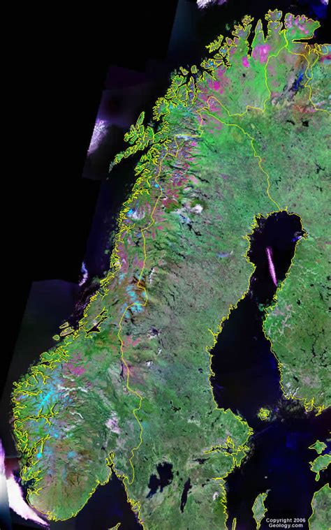 norway map  satellite image