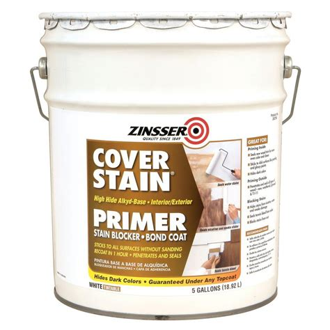 zinsser 5 gal cover stain alkyd 262766 the home depot