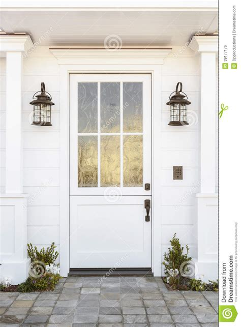 white front door white front door to classic home stock photo image 39177176