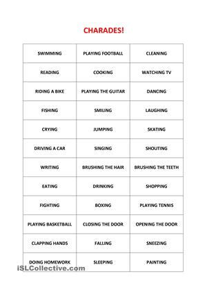 5 best images of printable adult charades words free charades printouts for actions esl worksheets