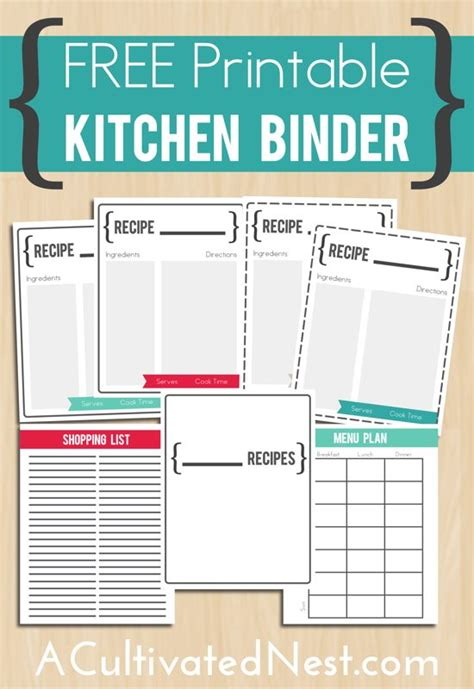 printable kitchen templates 17 best images about free recipe binders on pinterest
