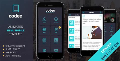 Codec Mobile Html Template By Sindevo Themeforest Mobile App Html Template Free