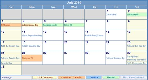 Calendar 2016 Usa July 2016 Calendar With Holidays Usa Uk Canada