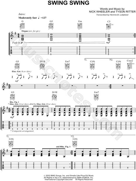 swing swing guitar tab the all american rejects quot swing swing quot guitar tab in g