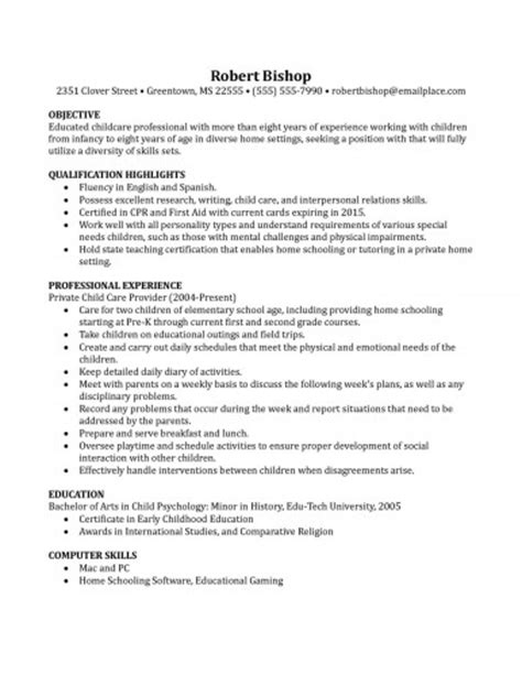 Resume Exles For Nanny Position by Resume Template For Nanny Birthdayessay X Fc2